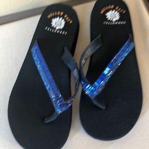 New without box - yellowbox jeweled blue flip flop